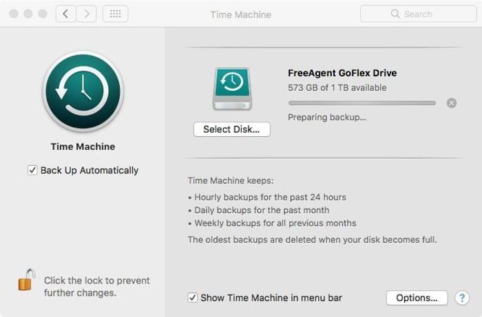 Time Machine interfaz